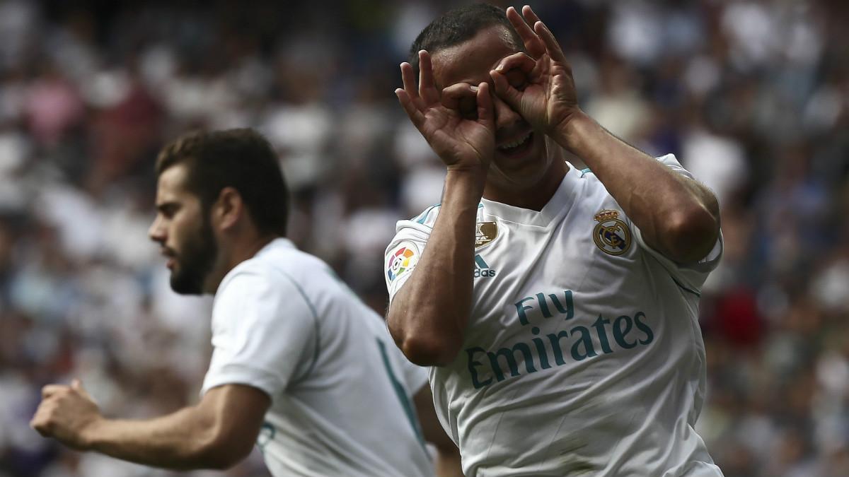 Lucas Vázquez celebra el 1-1. (EFE)