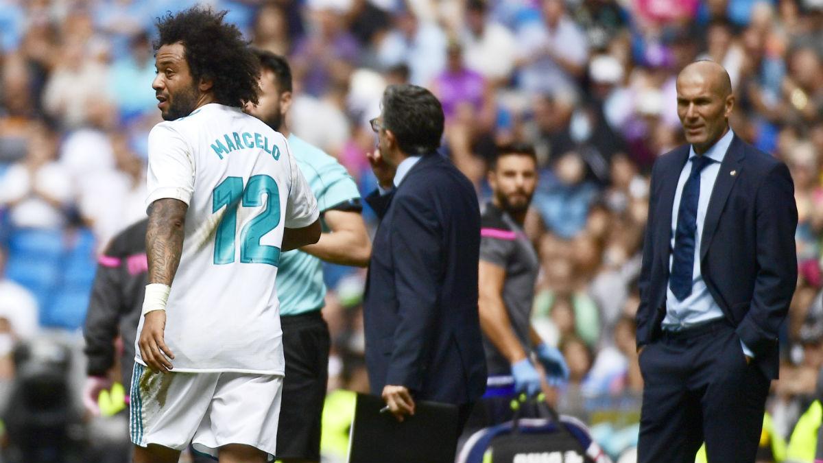 Marcelo tras ser expulsado durante el Real Madrid-Levante. (AFP)