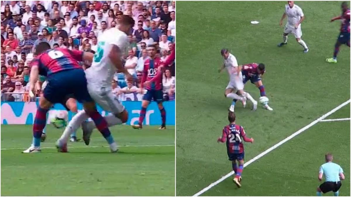 Penalti claro sobre Theo Hernández durante el Real Madrid-Levante que finalizó en tablas.