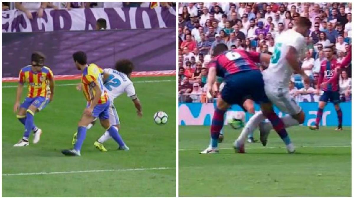 Los penaltis sobre Marcelo y Theo que se quedaron sin señalar. (Twitter)