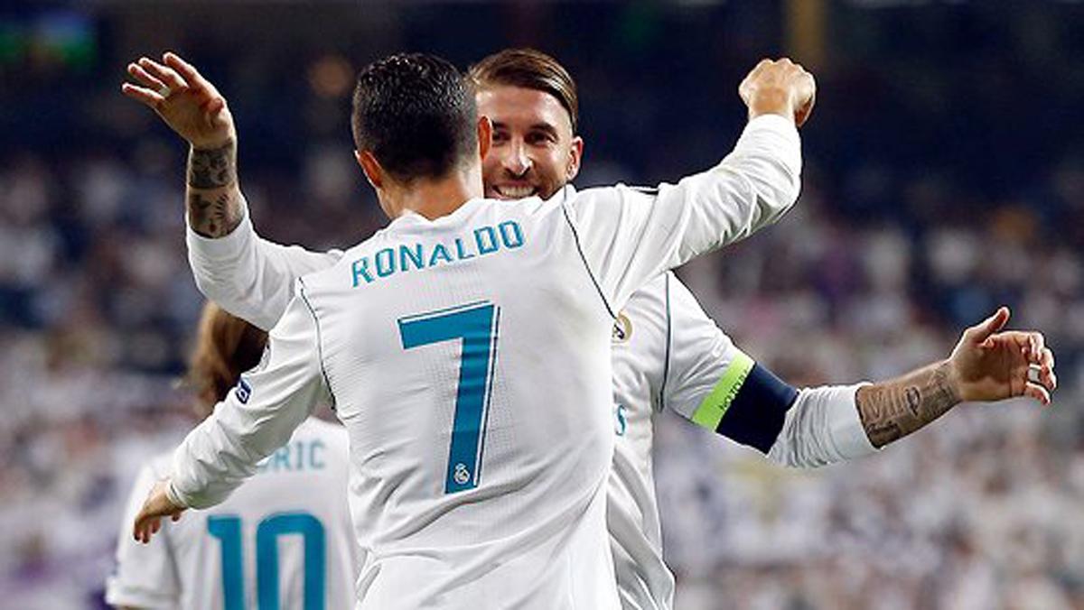 Cristiano y Ramos, celebrando un gol.
