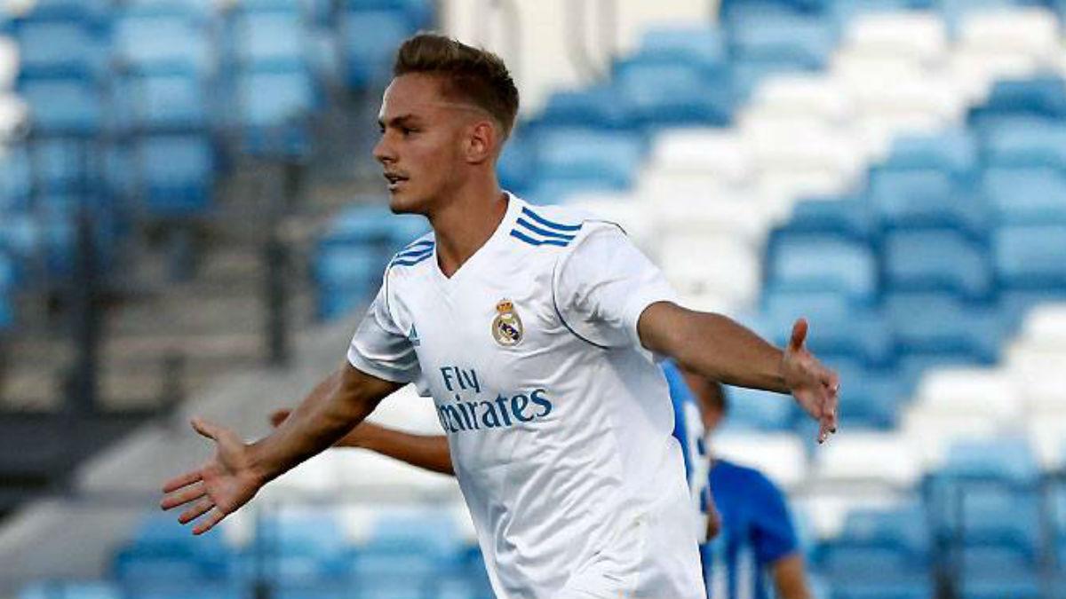 Dani Gómez celebra un gol con el Castilla. (Realmadrid.com)