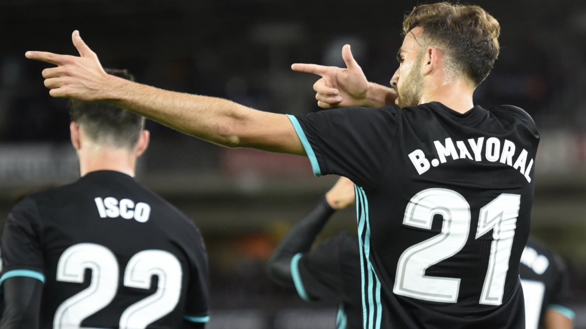 Borja Mayoral celebra el 0-1 del Real Madrid. (Getty)