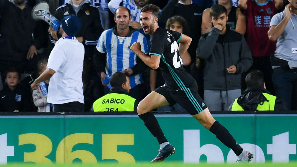 Borja Mayoral celebra el primer tanto del Real Madrid en Anoeta (Getty).