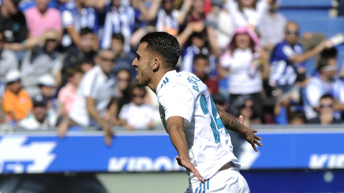 Dani Ceballos celebra su gol al Alavés. (AFP)