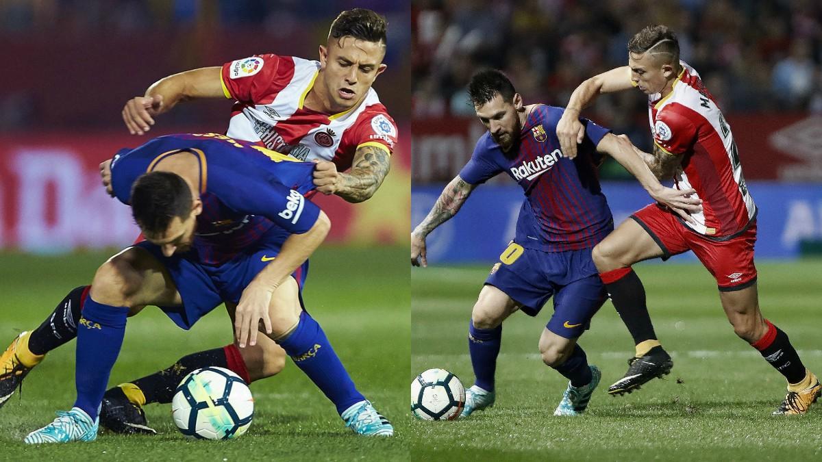 Leo Messi y Pablo Maffeo. (EFE)