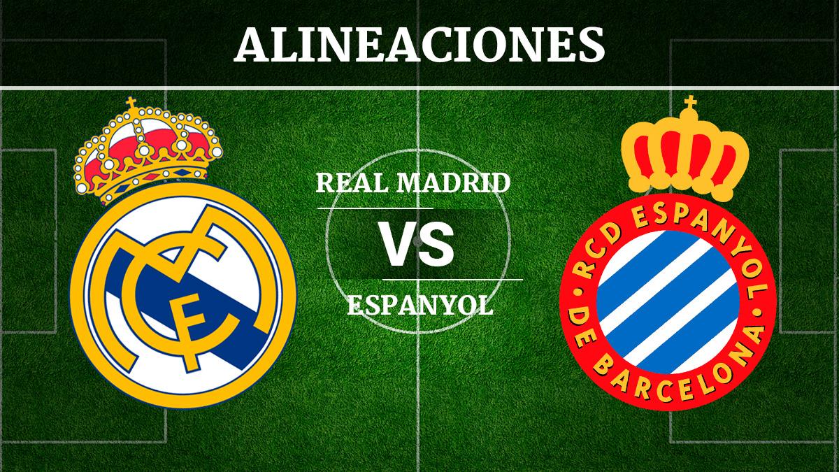Consulta las posibles alineaciones del Real Madrid vs Espanyol.
