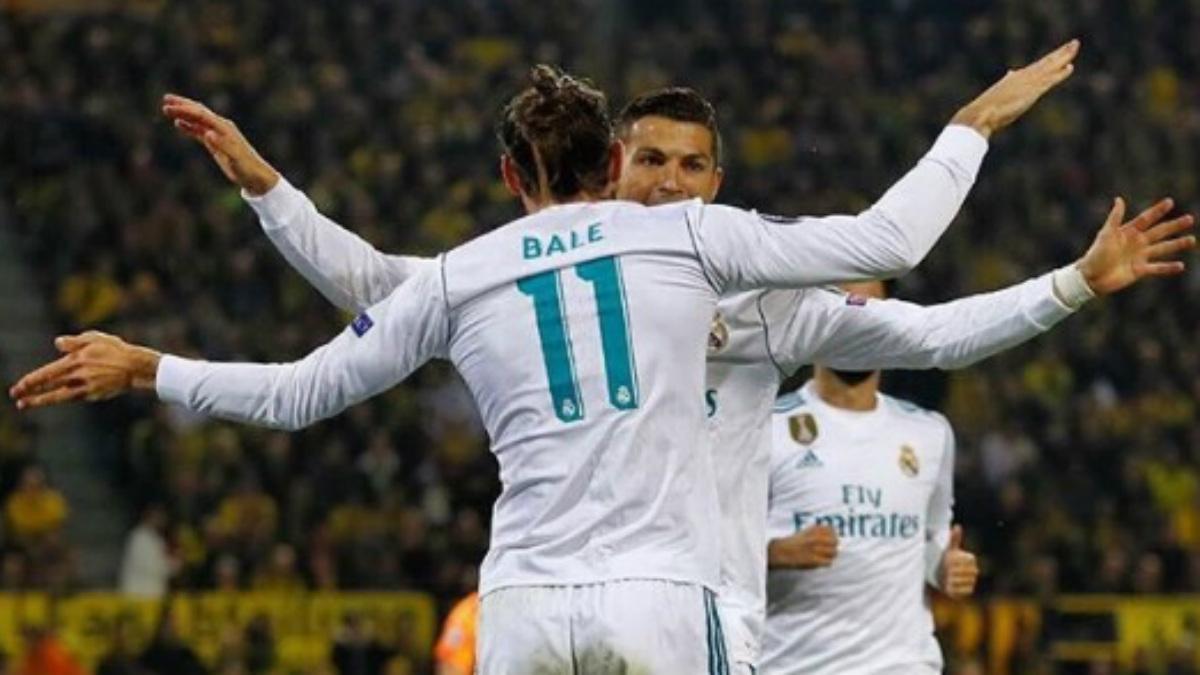 Cristiano y Bale celebran uno de los goles del portugués frente al Borussia Dortmund (Twitter).