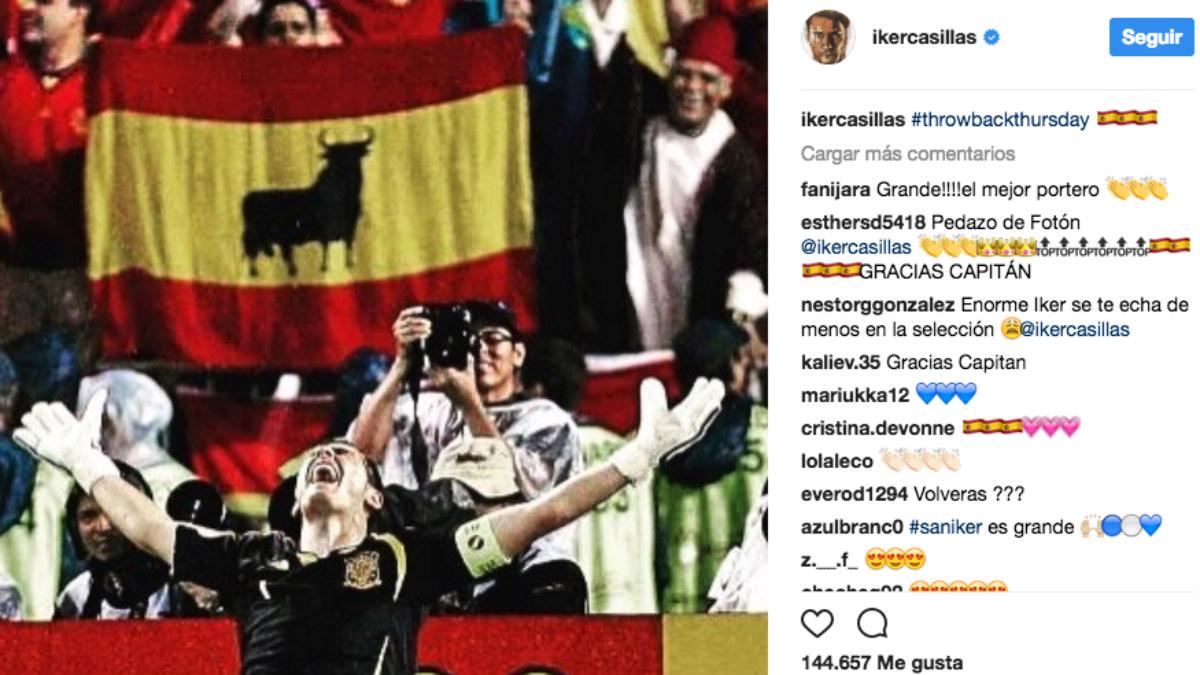 El mensaje de Casillas en Instagram.