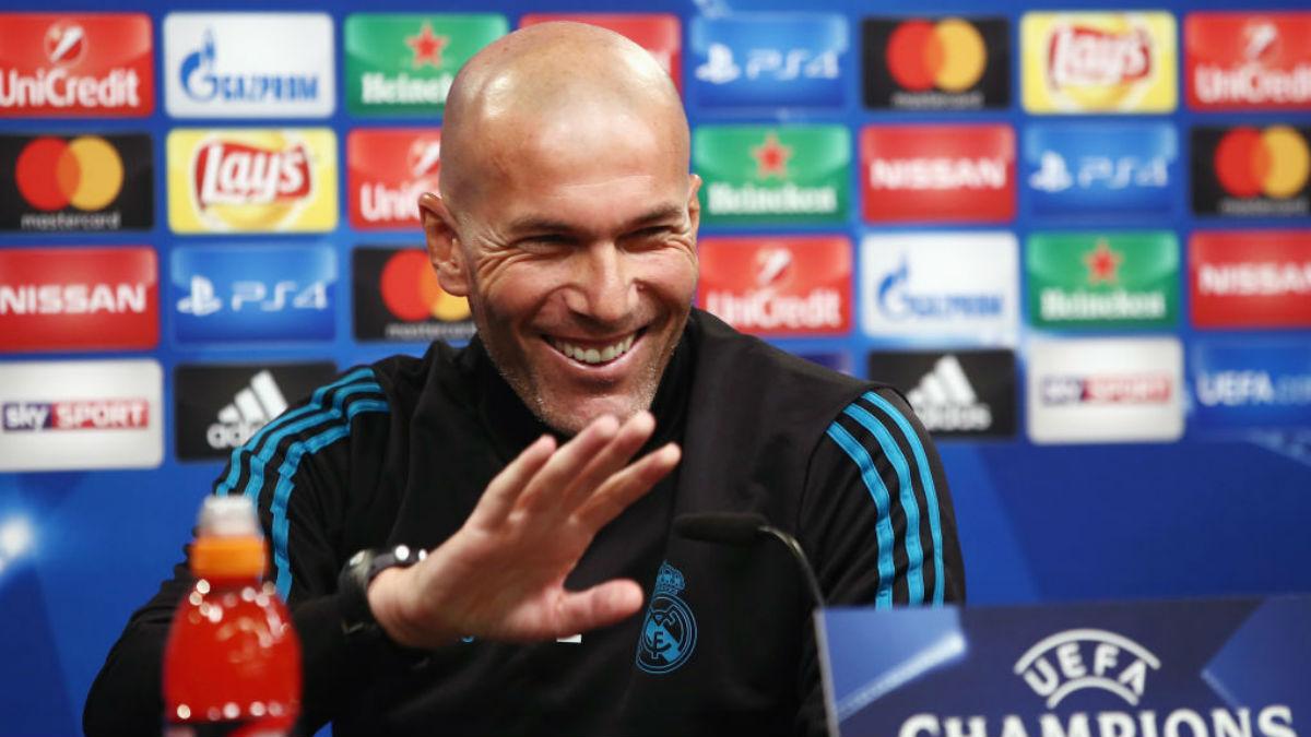 Zidane, en la rueda de prensa previa al choque frente al Dortmund (Getty).