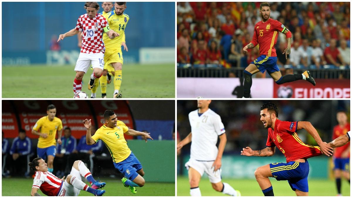Modric, Ramos, Casemiro y Ceballos serán capitanes de sus selecciones durante este parón de selecciones. (Fotos: Getty Images)
