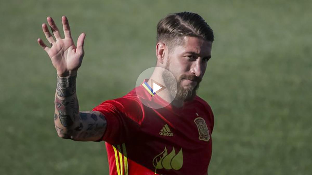 Sergio Ramos, en un entrenamiento de España. (EFE)