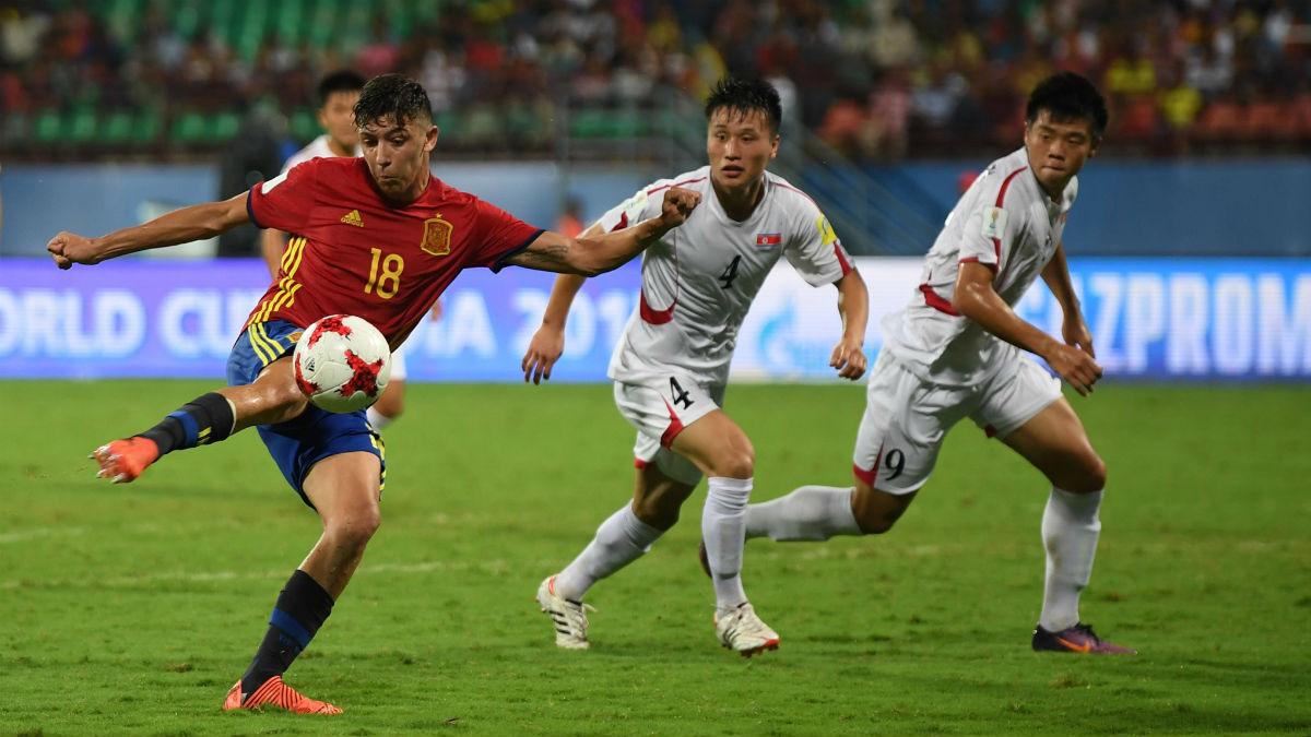César Gelabert durante el partido ante Corea del Norte en el Mundial sub-17. (fifa.com)