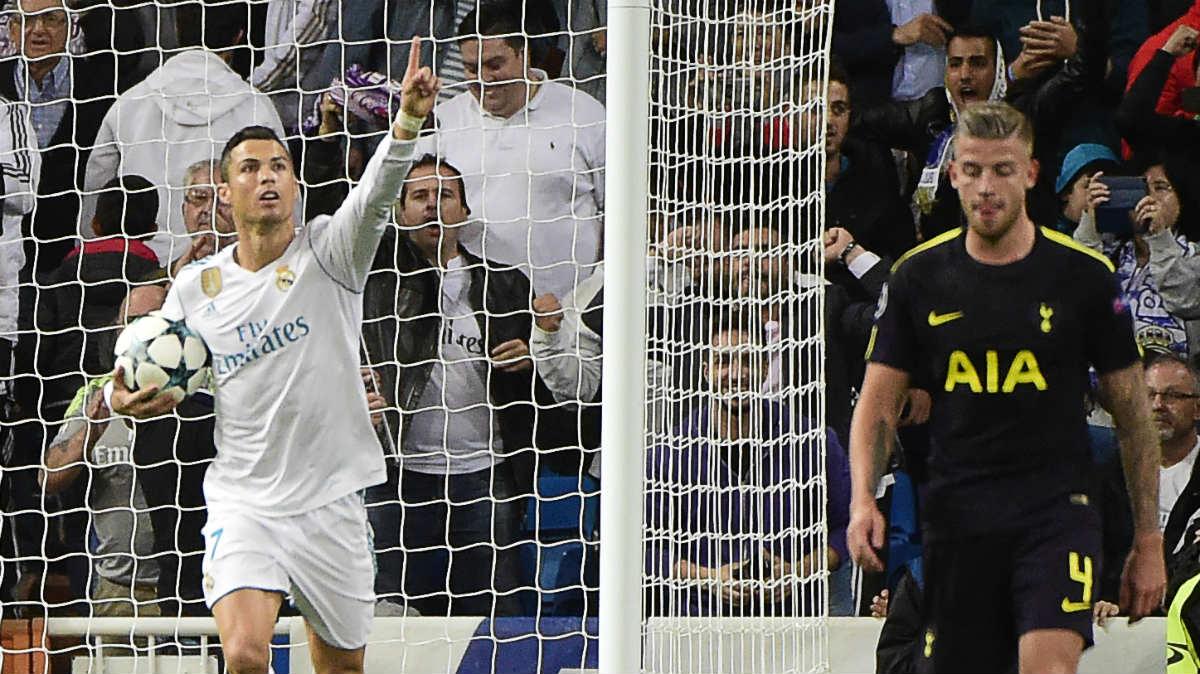 Cristiano celebra el gol del empate contra el Tottenham. (AFP)