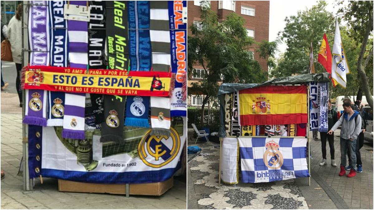 Banderas de España en los aledaños del Santiago Bernabéu.