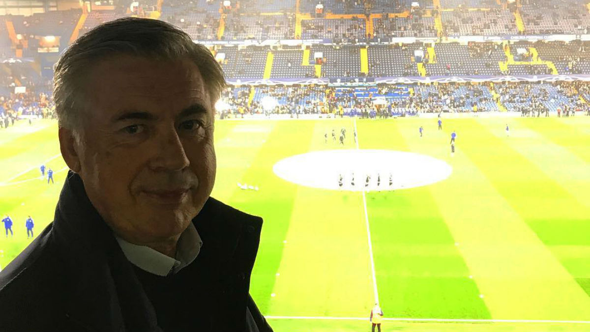 Carlo Ancelotti, en Stamford Bridge.
