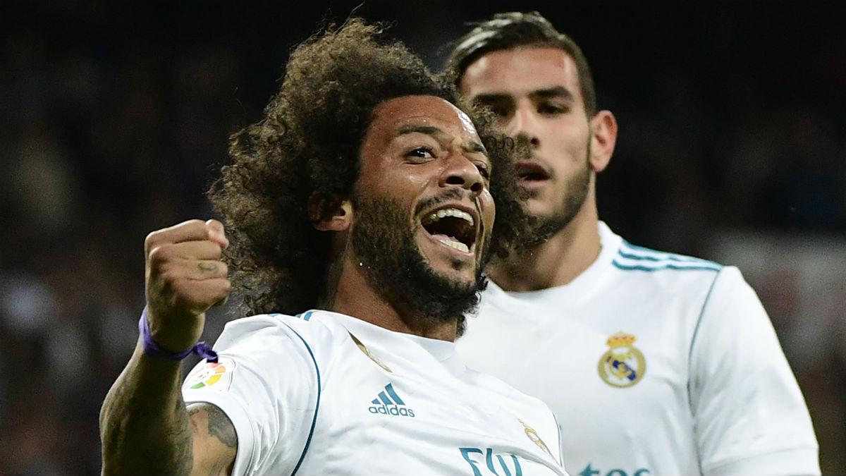 Marcelo celebra su gol ante el Eibar. (AFP)