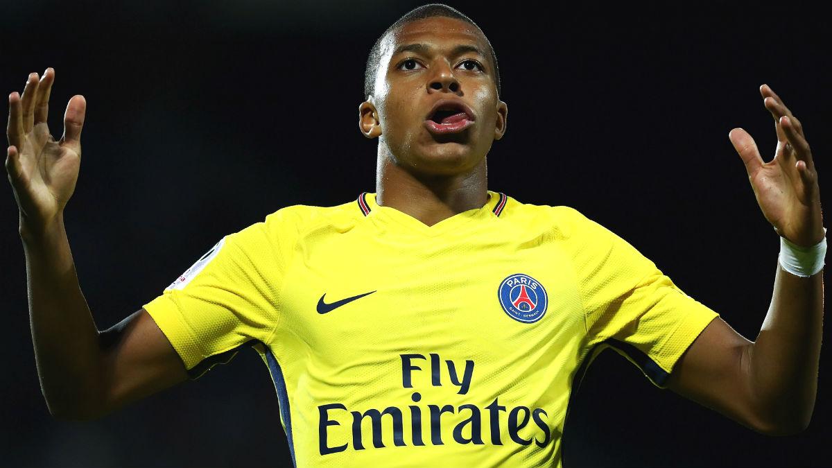 Mbappé celebra un gol con el PSG. (Getty)