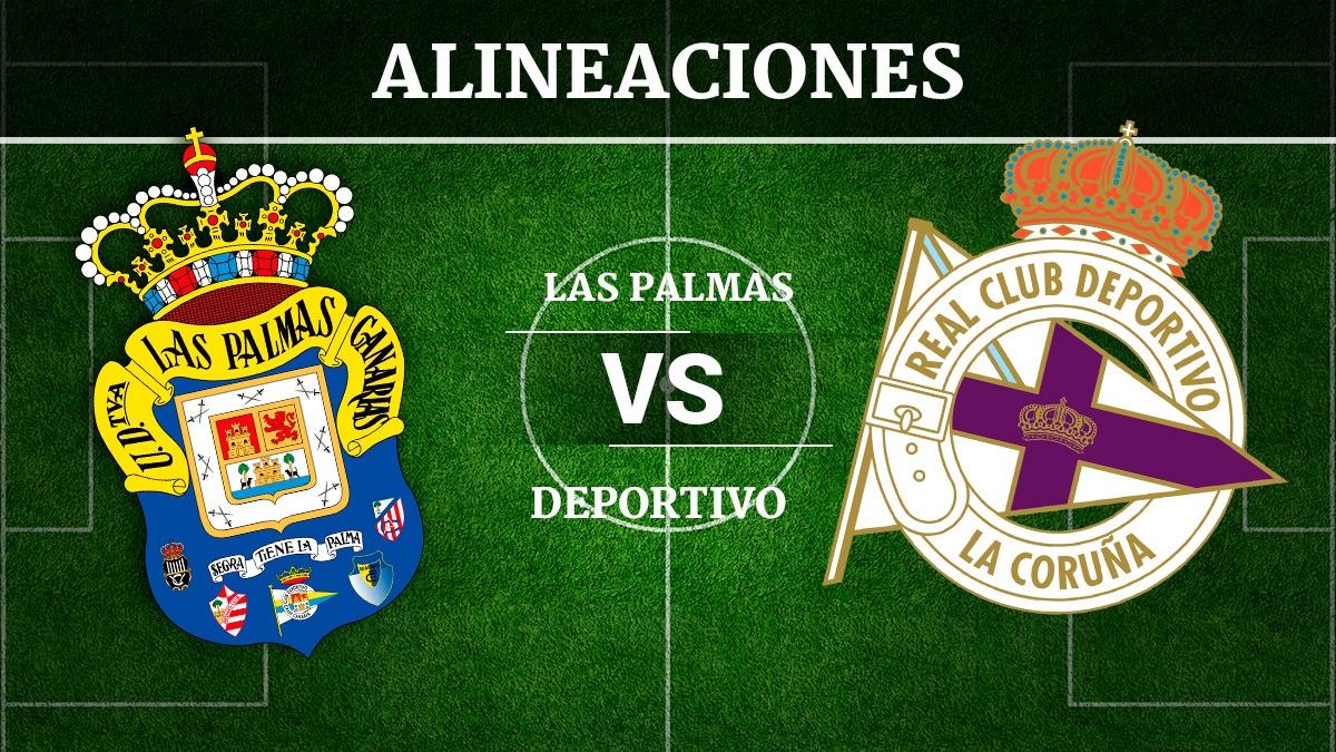 Consulta las posibles alineaciones del UD Las Palmas vs Deportivo de la Coruña.
