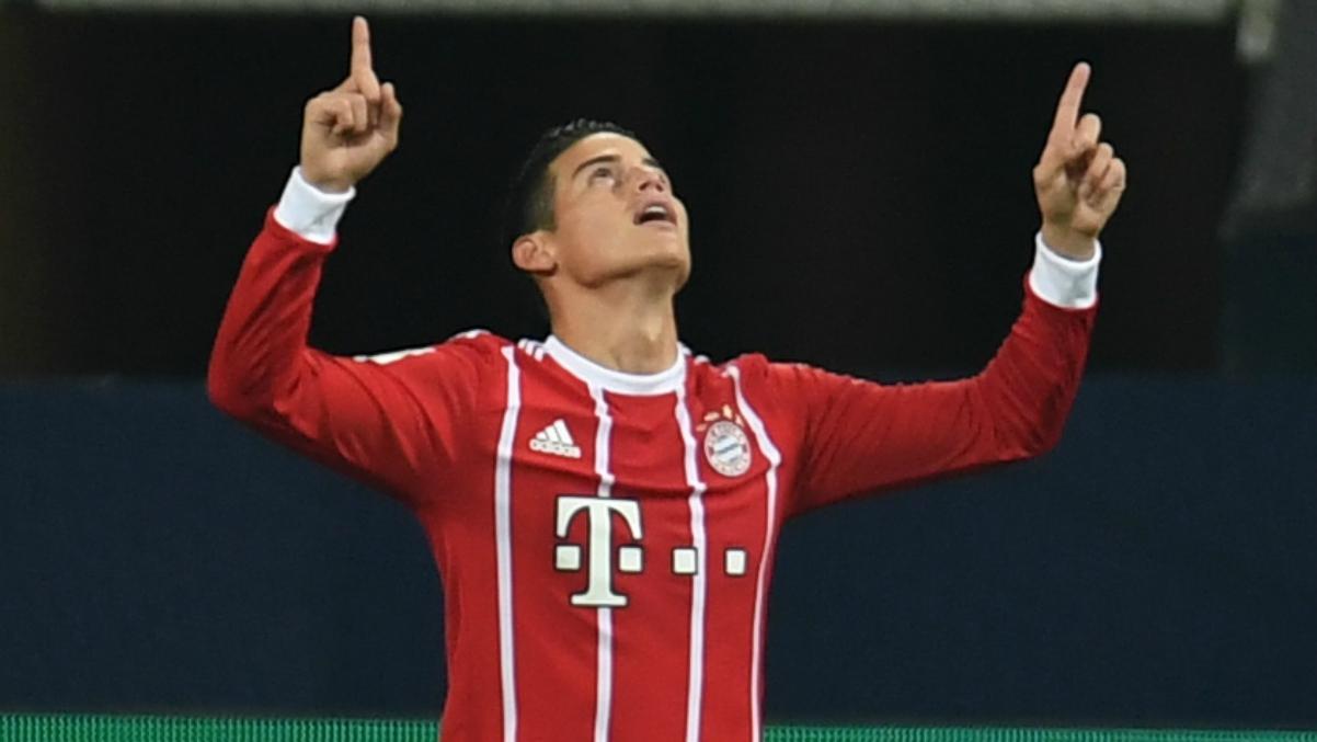 James Rodríguez celebra su gol ante el Leipzig. (Getty Images)