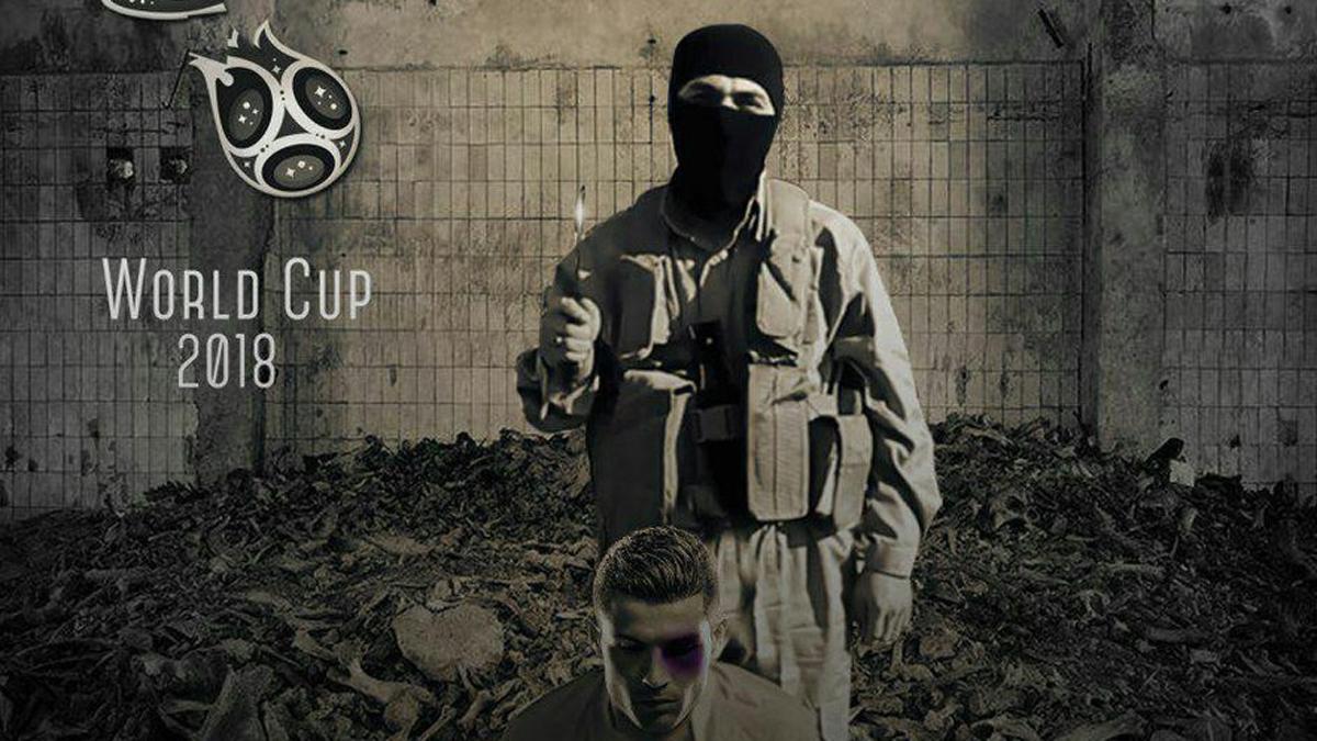 Cristiano Ronaldo, con un terrorista por detrás en el montaje del ISIS.