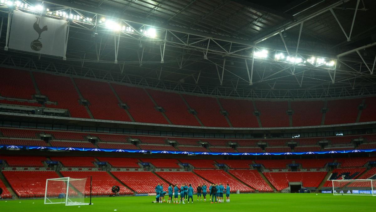 El Real Madrid entrenándose en Wembley. (AFP)