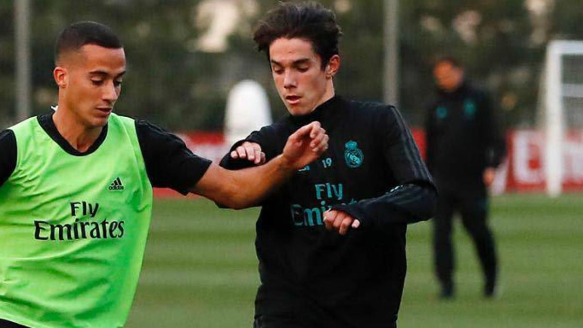 Sergio Arribas durante el entrenamiento con el Real Madrid. (Instagram)
