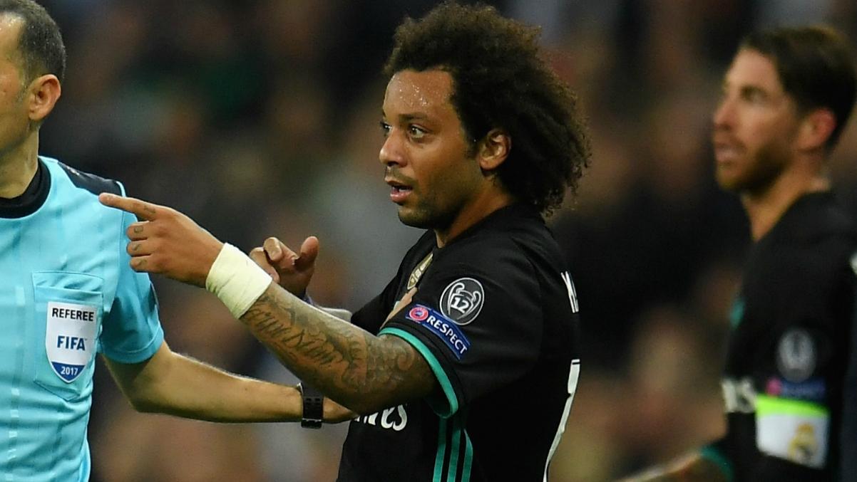 Marcelo, enfadado durante el último partido ante el Tottenham. (Getty Images)