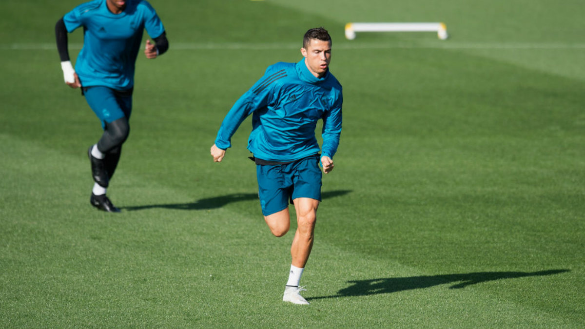 Cristiano Ronaldo durante un entrenamiento (Getty).