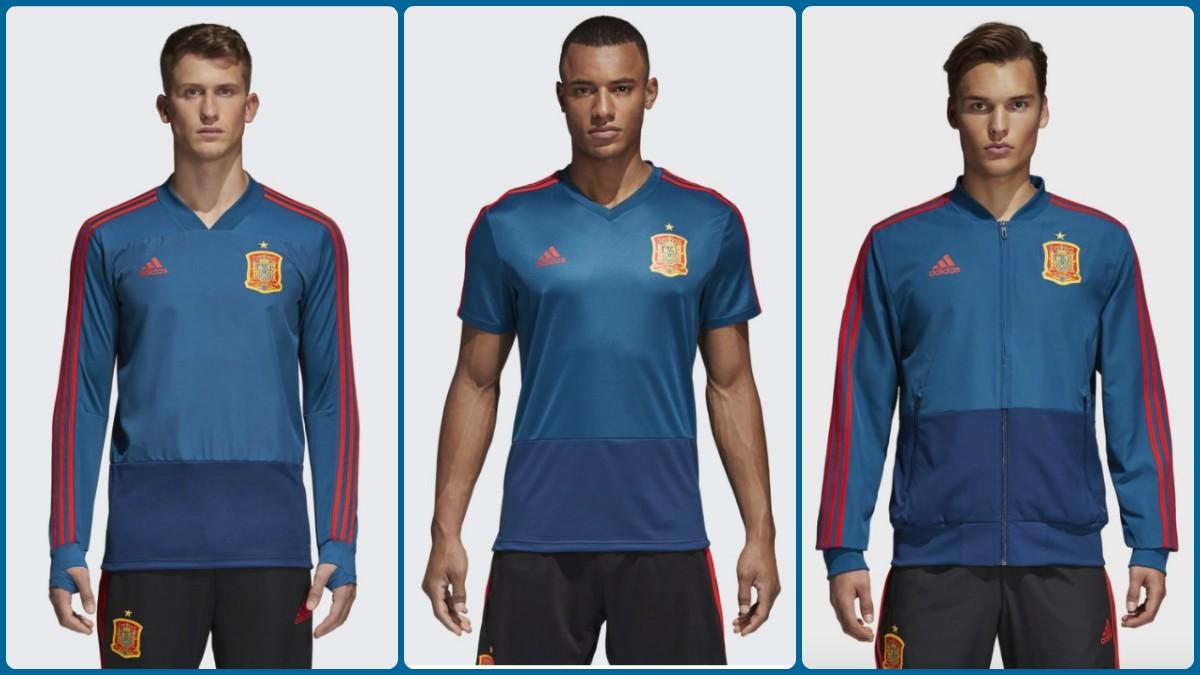 Camiseta de entrenamiento y chándal de presentación de la selección española para el Mundial.