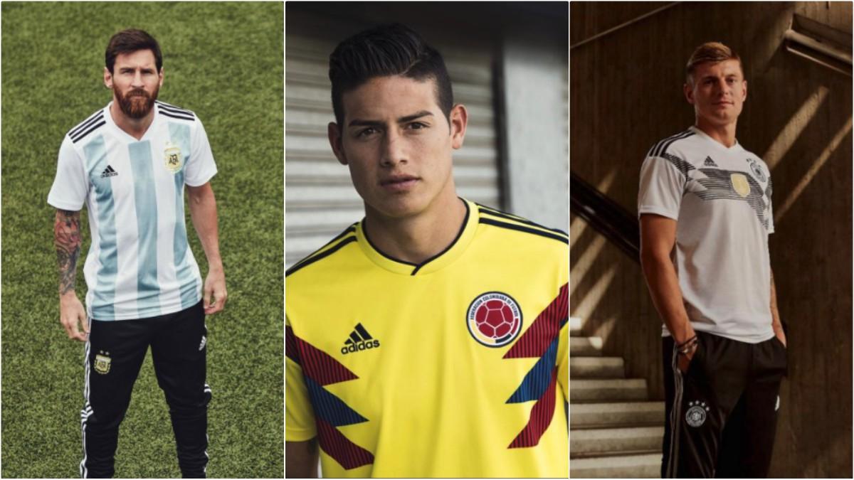 Algunos de los jugadores más representativos de Adidas ya han posado con su camiseta para el Mundial.