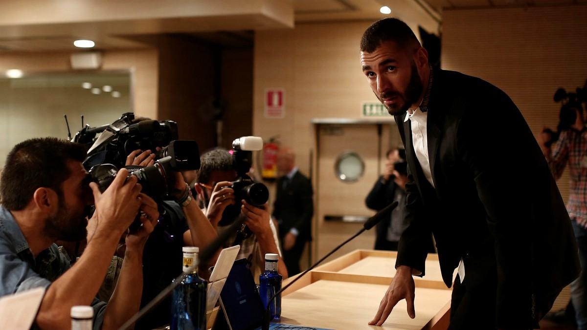 Benzema, en una comparecencia. (Getty)