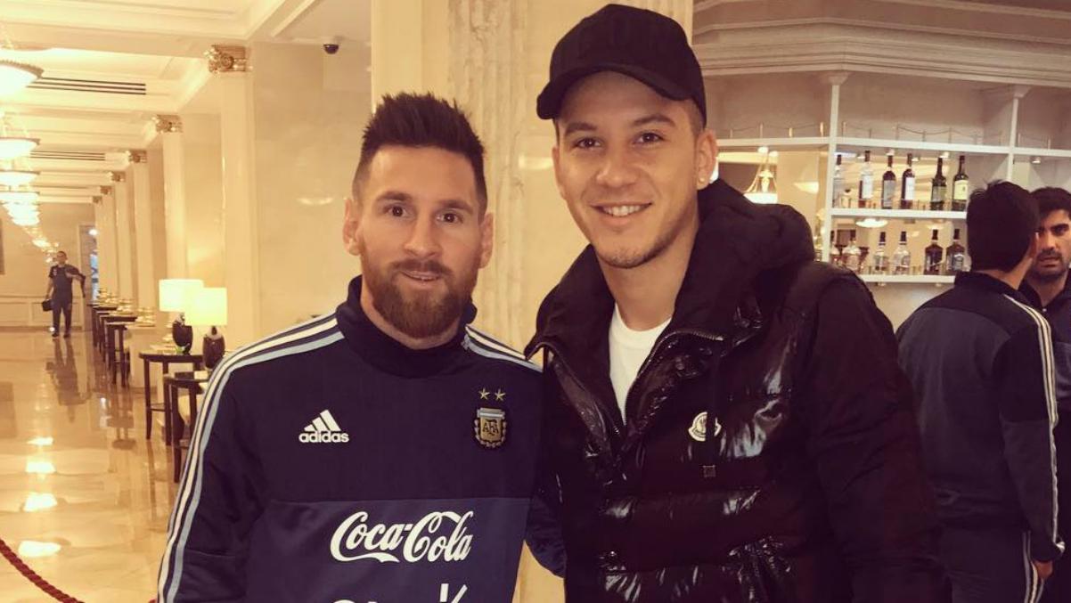 Messi y Driussi en el hotel de la selección argentina. (Instagram)
