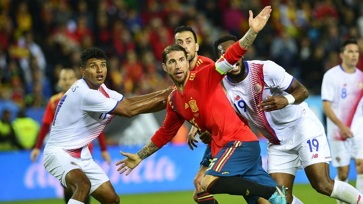 Sergio Ramos, en el partido contra Costa Rica. (AFP)