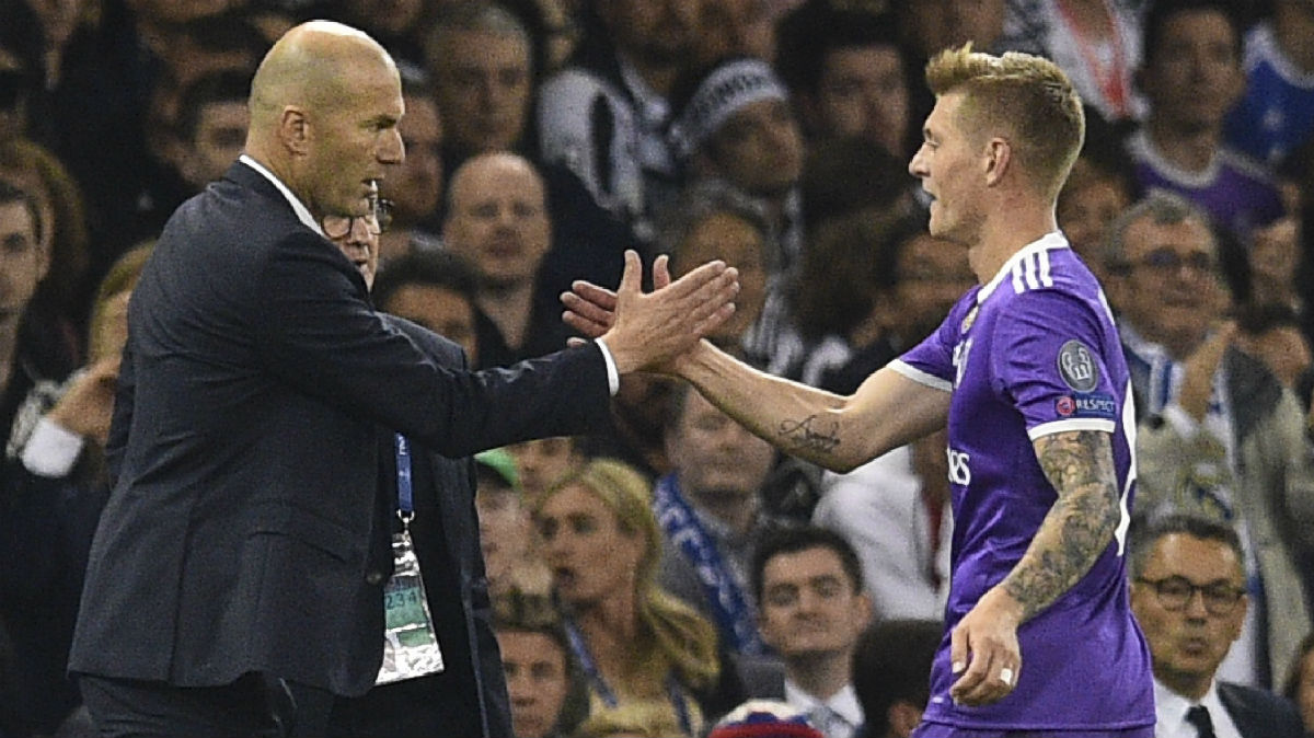 Zidane y Kroos en la final de la Champions League. (AFP)