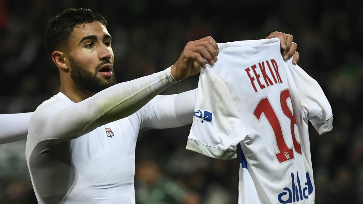 Nabil Fekir celebra un gol con el Olympique de Lyon. (AFP)