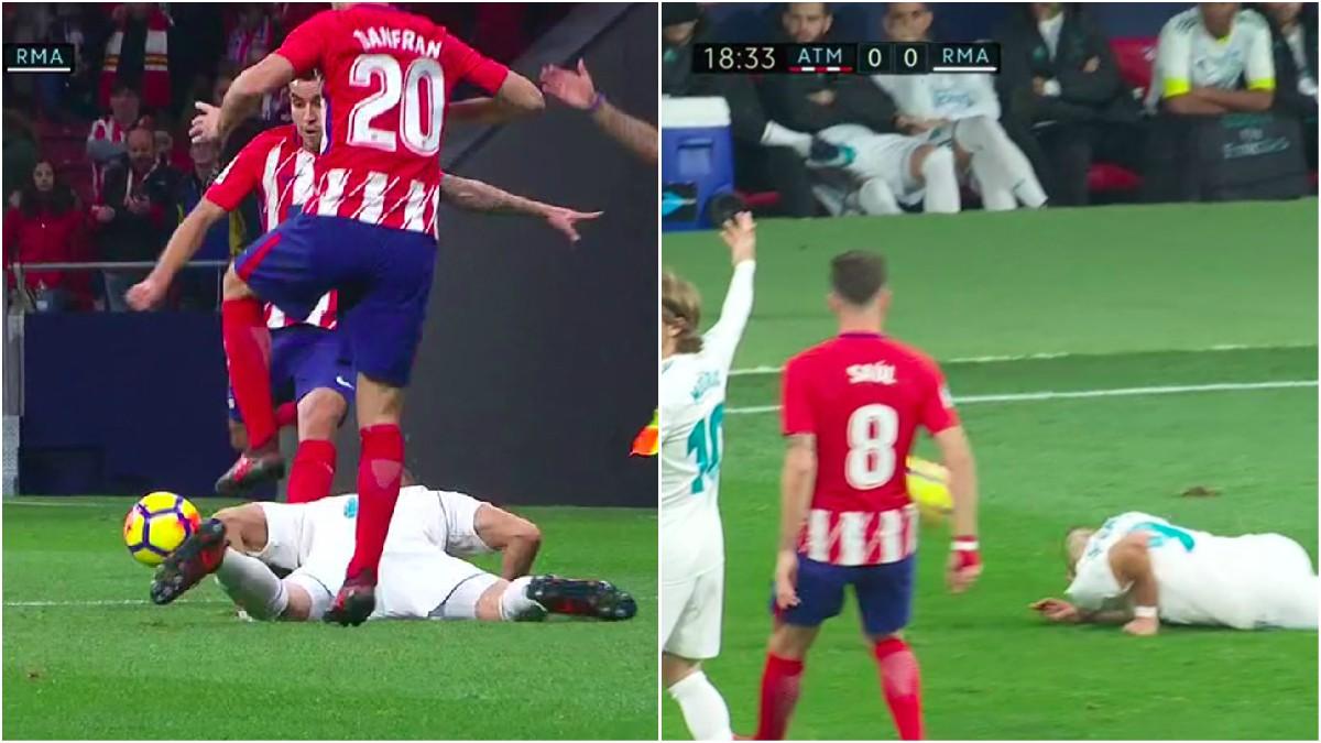 MINUTO 18: Correa da un pelotazo intencionado a Benzema. Borbalán le perdona la roja.