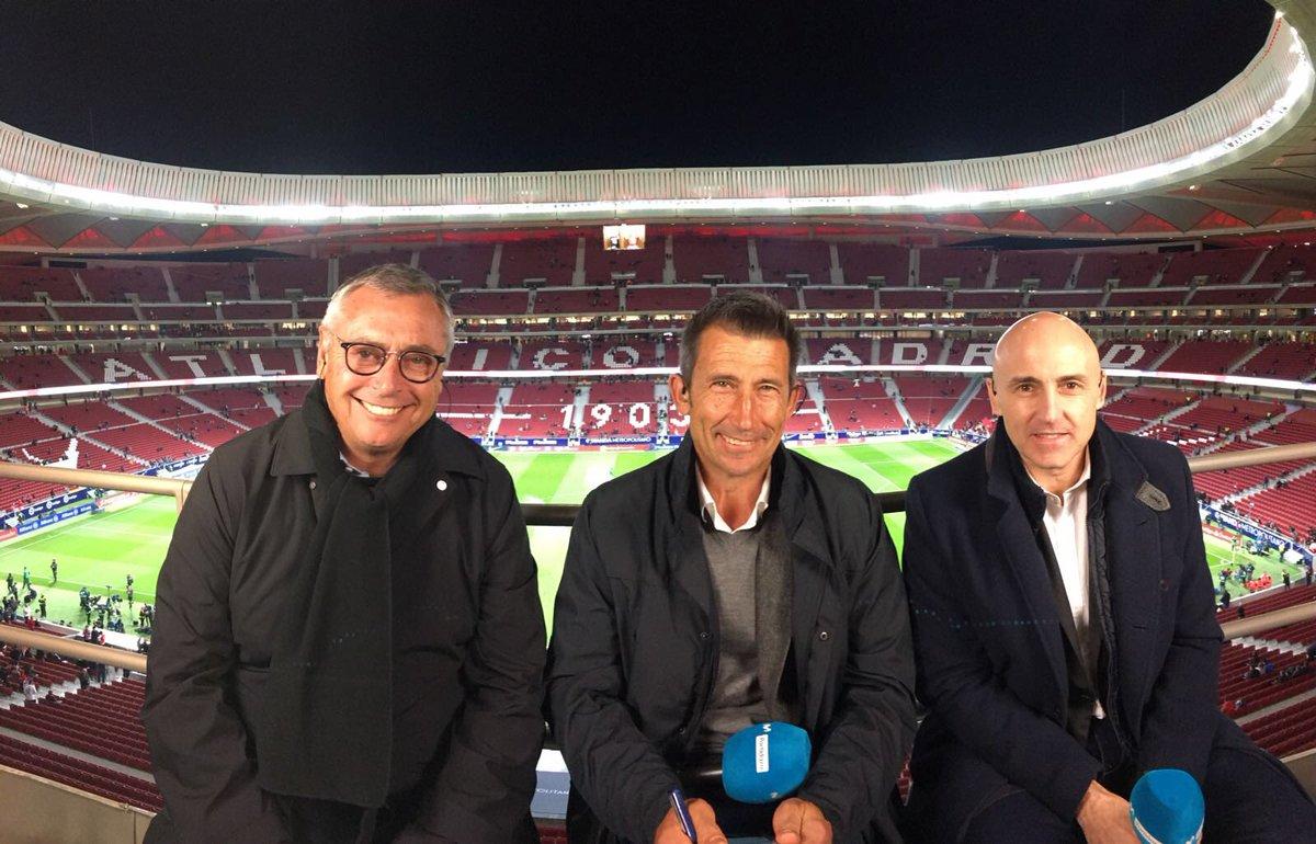 Robinson, Carlos Martínez y Maldini, en el Wanda Metropolitano.