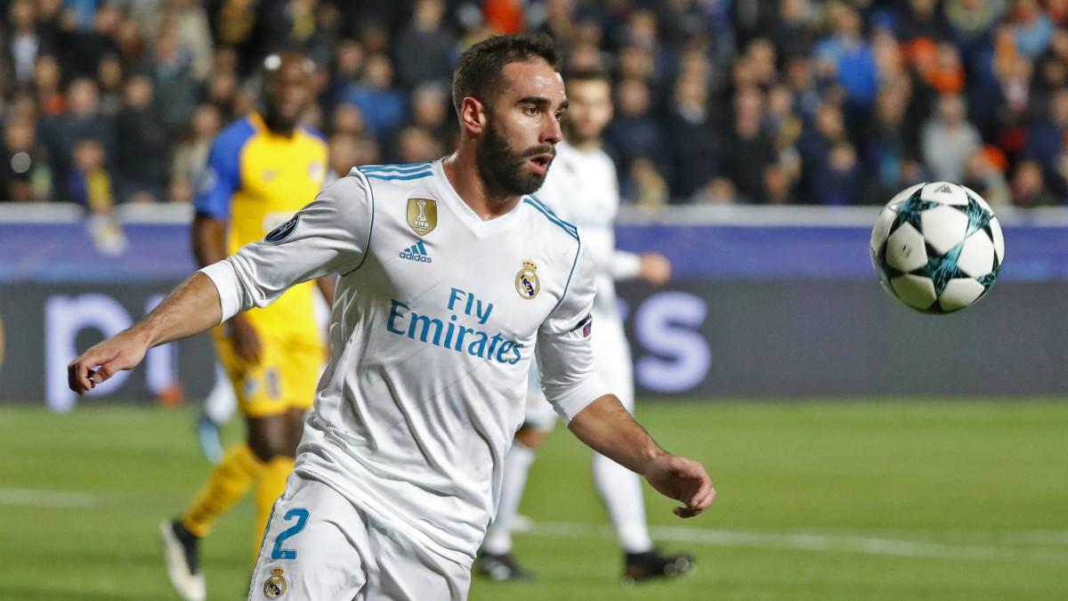 Carvajal, en el partido frente al APOEL. (AFP)