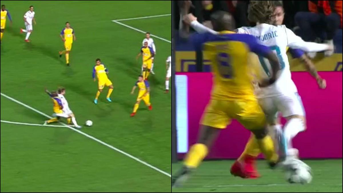 Modric reclamó penalti de Poté en el Apoel-Real Madrid de fase de grupos de la Champions.
