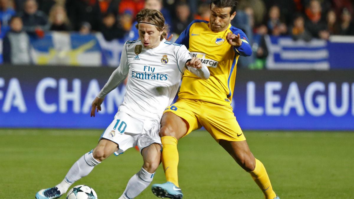 Luka Modric, en una acción del partido ante el APOEL de Nicosia (AFP).