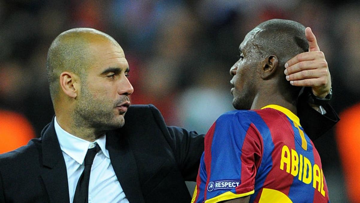 Guardiola y Abidal durante su etapa en el Barcelona. (Getty Images)