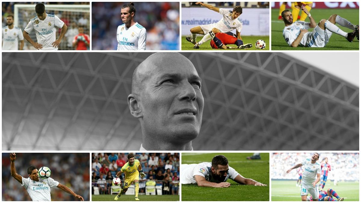 Zidane, con alguno de los quince lesionados esta temporada (Fotos: AFP y Getty Images)