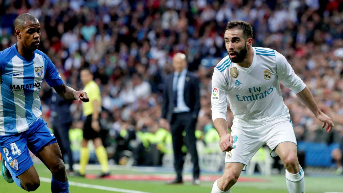 Carvajal durante el Real Madrid-Málaga. (EFE)