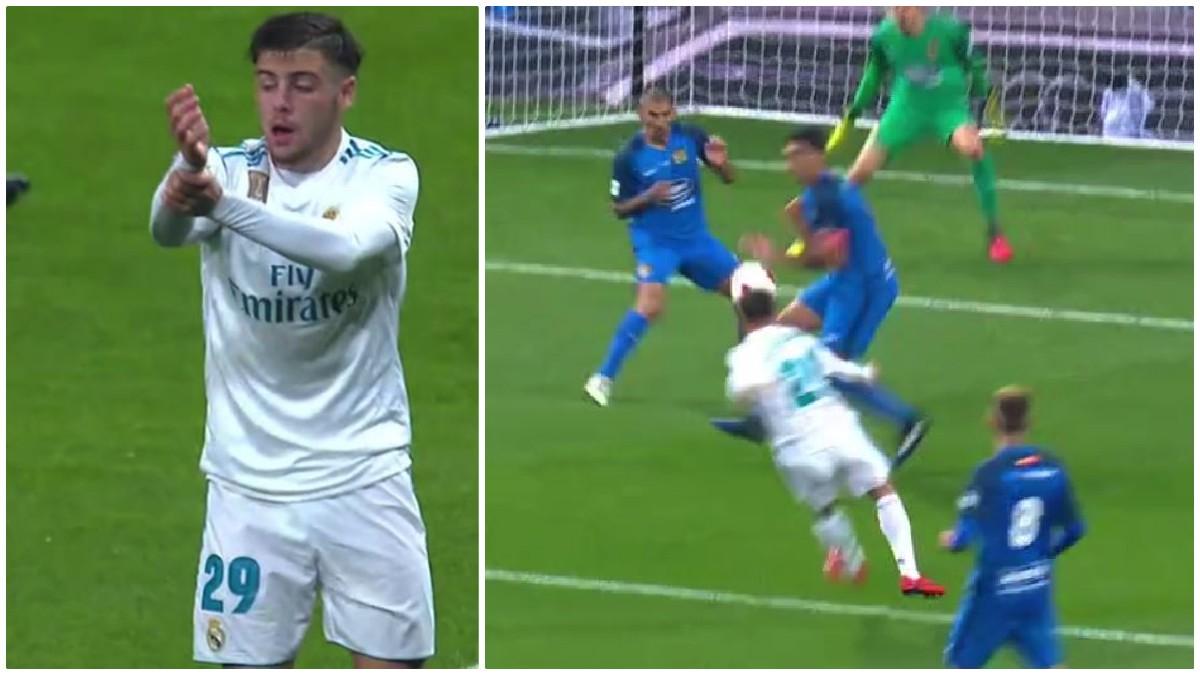 En Copa también. Franchu pidió mano de Juanma en el Real Madrid-Fuenlabrada.