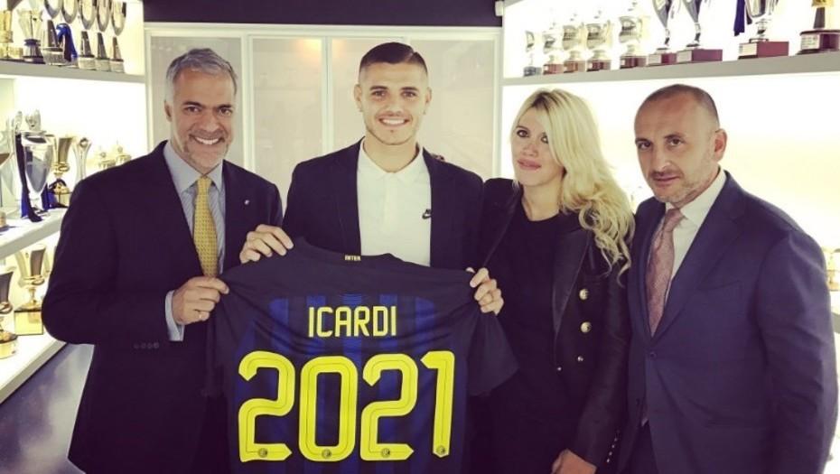Icardi, Wanda Nara y directos del Inter, cuando renovó hasta 2021.