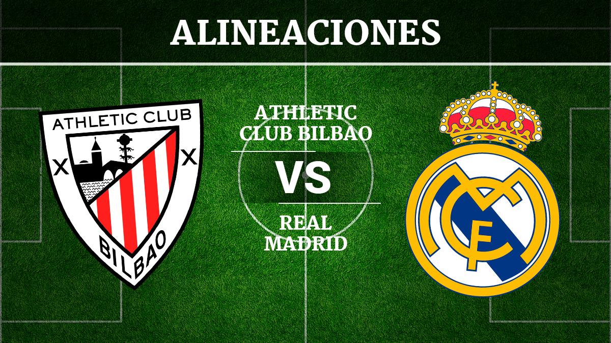 Consulta las posibles alineaciones del Athletic de Bilbao vs Real Madrid.