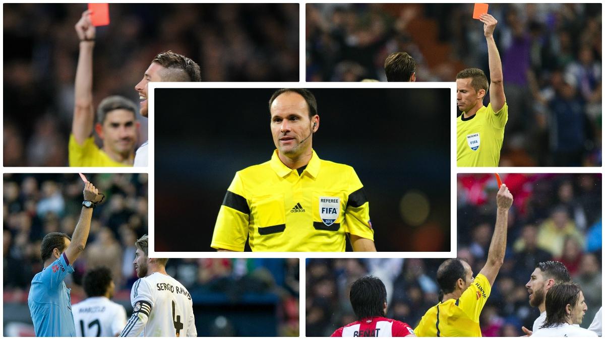 Los árbitros que han expulsado a Ramos en Liga. (Fotos: Getty Images)
