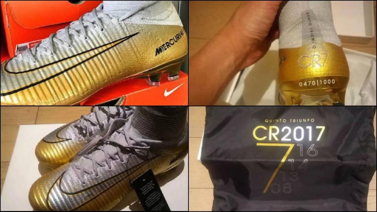 Las botas homenaje al quinto Balón de Oro de Cristiano.