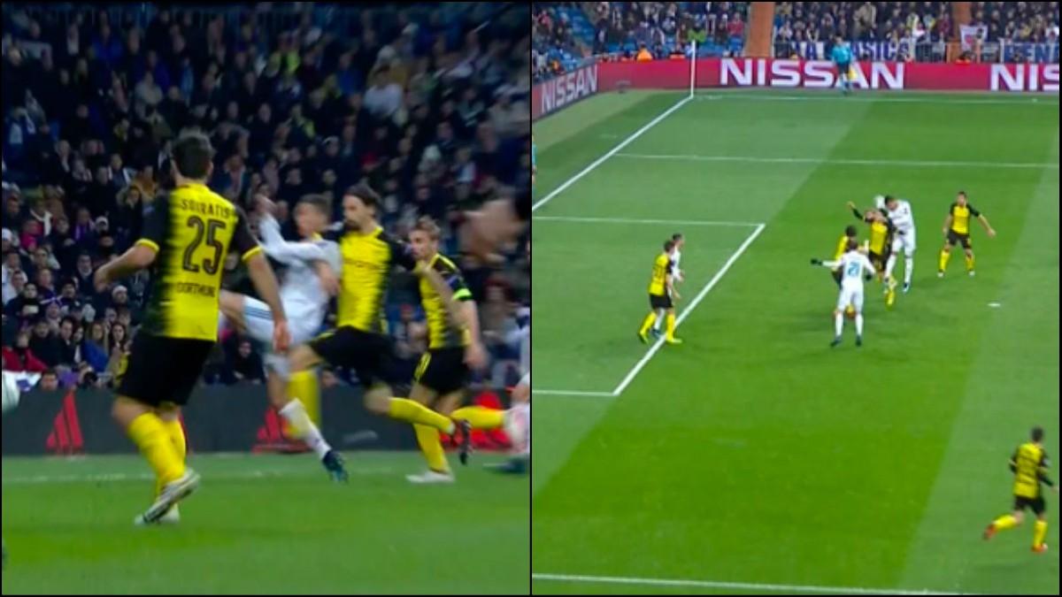 Cristiano reclamó un penalti en el Real Madrid-Dortmund.